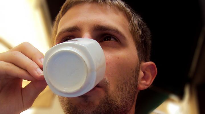 Lubo Jurík drinking coffee