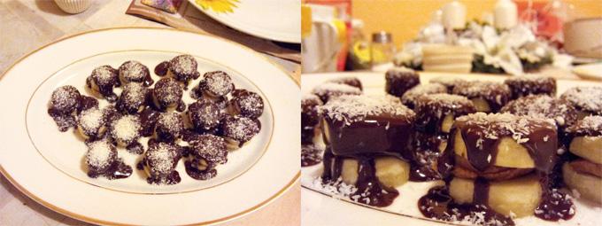 Vianočný vegánsky zákusok - banány s arašidovým maslom poliate tmavou čokoládou a posypané kokosom