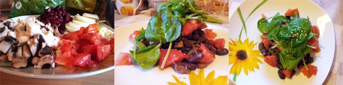 Vegánska dusená fazuľa s cibuľkou a čerstvým baby špenátom a rajčinami
