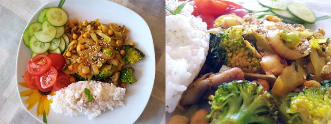 Vegánska dusená zelenina s cícerom, čerstvou zeleninou a ryžou