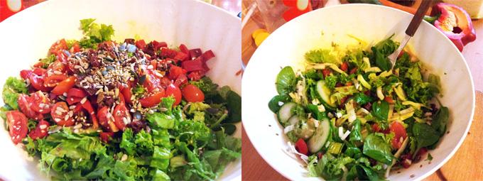 Vitariánsky (studený) šalát s množstva čerstvej zeleniny, semiačok, goji a olivového oleja