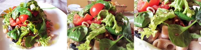 Vegánske celozrnné cestoviny s dusenou cibuľou, cesnakom, fazuľou, šampiónmi a čerstvou zeleninou