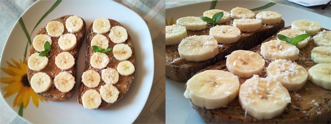 Vegánske toasty s arašidovým maslom, banánom a strúhaným kokosom