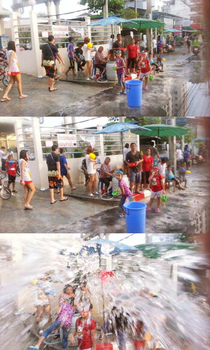 Thajský nový rok Sonkrán v lokálnej časti Bangkoku