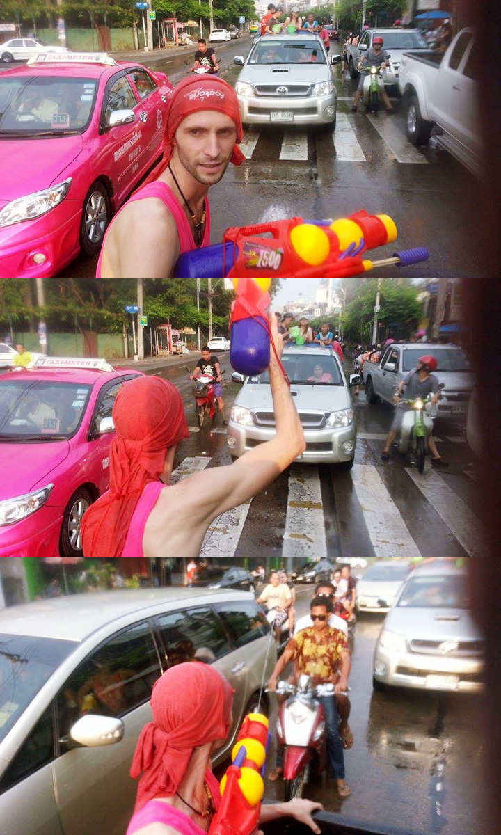Thajský nový rok Sonkrán - jazda v pickupe v uliciach Bangkoku