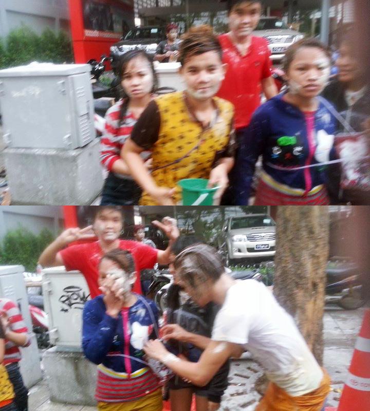 Thajci v Bangkoku oslavujúci thajský nový rok Sonkrán