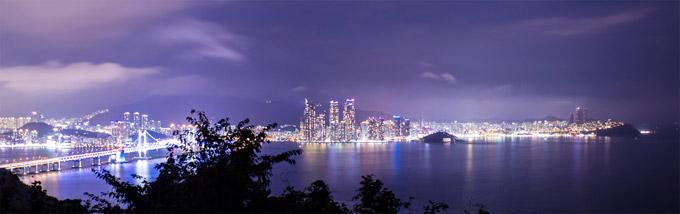 Nádherný nočný Busan, Južná Kórea