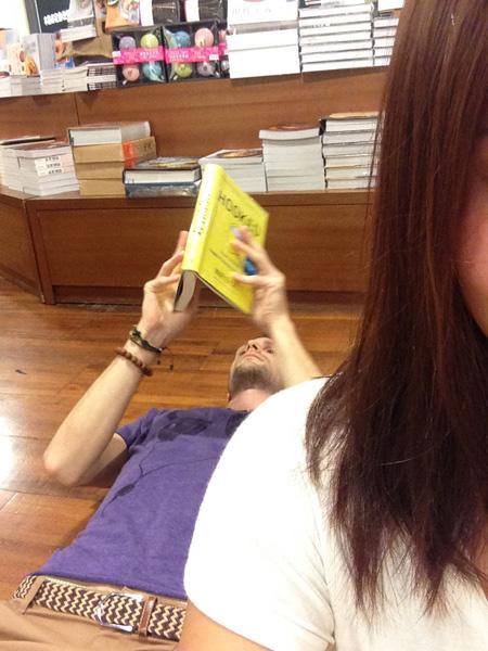 Na zemi v kníhkupectve v Taipei