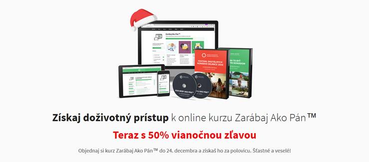Vianočná zľava na predajnej stránke Zarábaj Ako Pán™