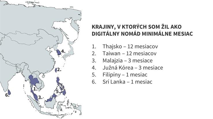Mapa krajín Ázie, v ktorých som ako digitálny nomád žil minimálne mesiac