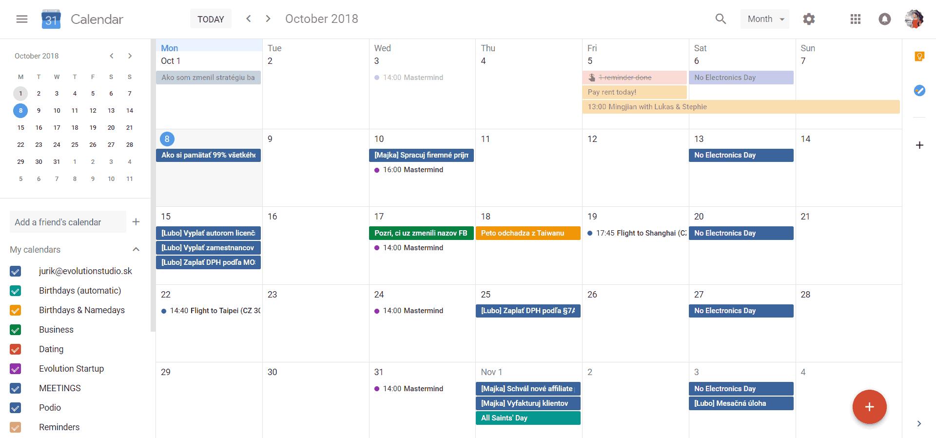 Všetky udalosti spojené s určitým dátumom pridaj do Google Kalendára