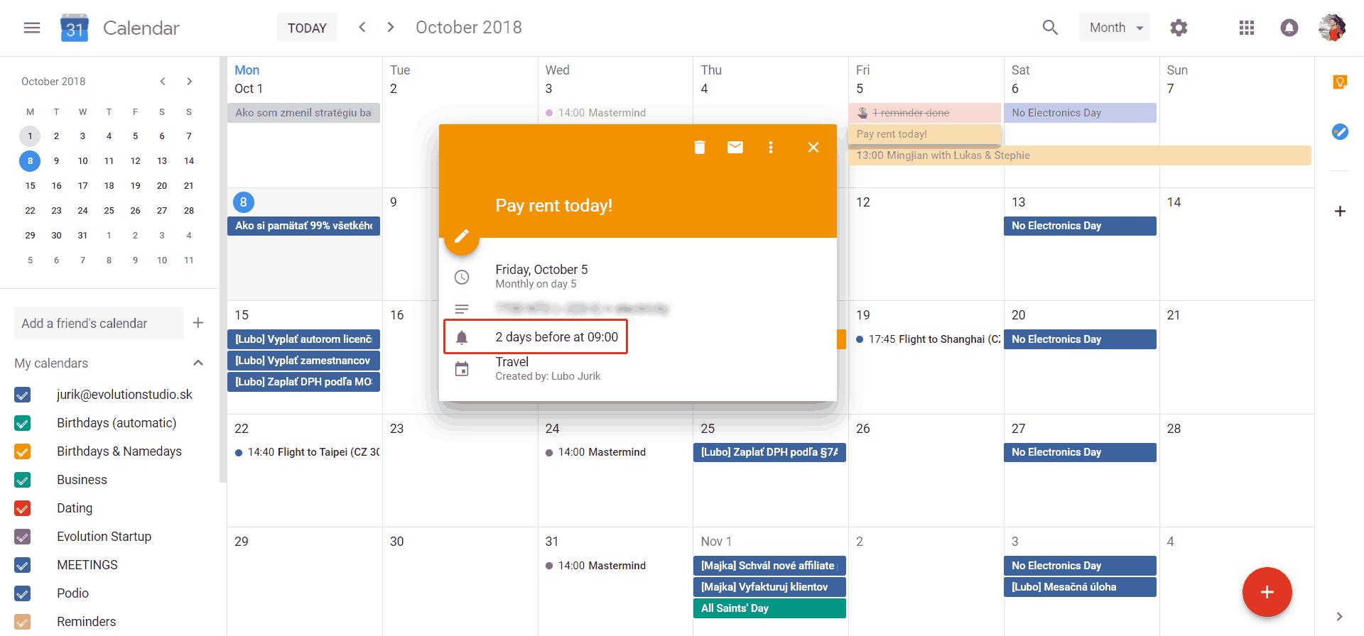 Ako vyzerá nastavená pripomienka v Google Kalendári